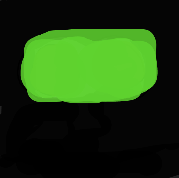 Profile picture for the comic artist, green cube