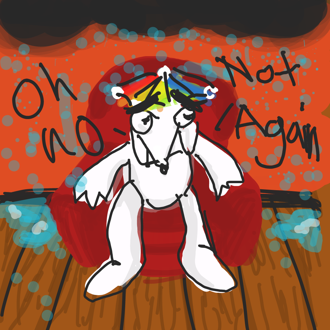 The defeated dog then proceeds to his house where it is also raining but luckily this isn't the first time this has happened and he has a rainbow rainhat for protection. - Online Drawing Game Comic Strip Panel by Vitriolic2.0