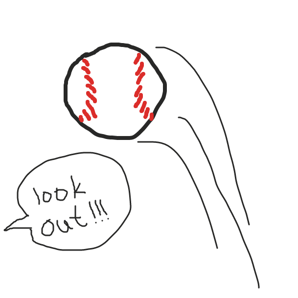 A baseball loomed dangerously close to his head, just skimming it - Online Drawing Game Comic Strip Panel by Avesgallimore