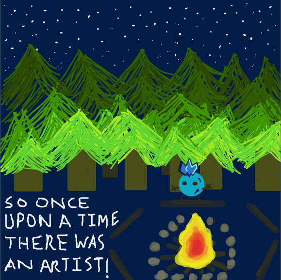 Add your characters around the fire and continue the scary story! - Online Drawing Game Comic Strip Panel by Freezershadow51
