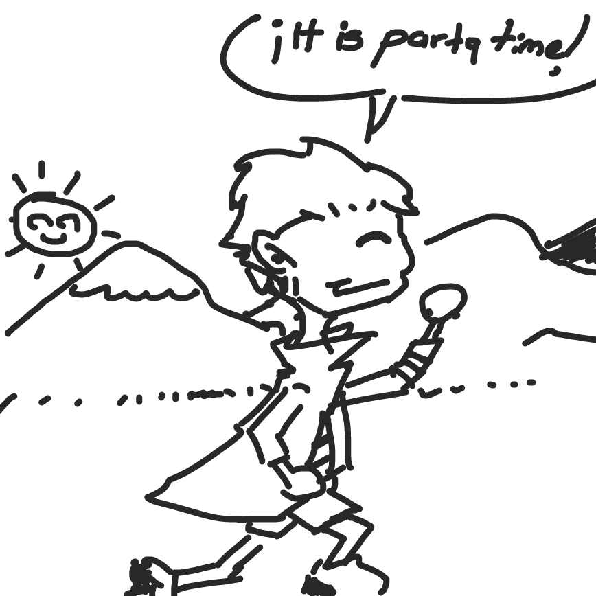 he wants a party to celebrate...but maybe he wont be able... becase everyone is dead by now - Online Drawing Game Comic Strip Panel by ArelaEstudio