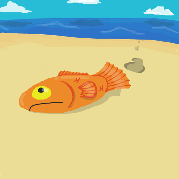 First panel in Fish drawn in our free online drawing game