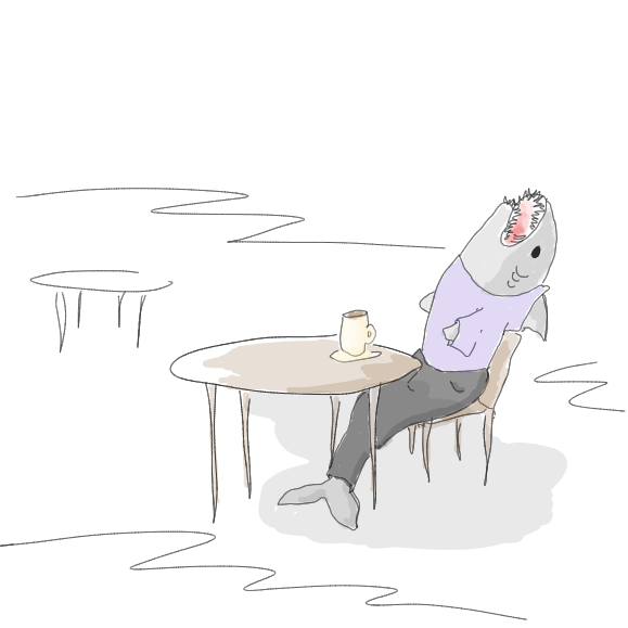 First panel in Shark Coffee drawn in our free online drawing game