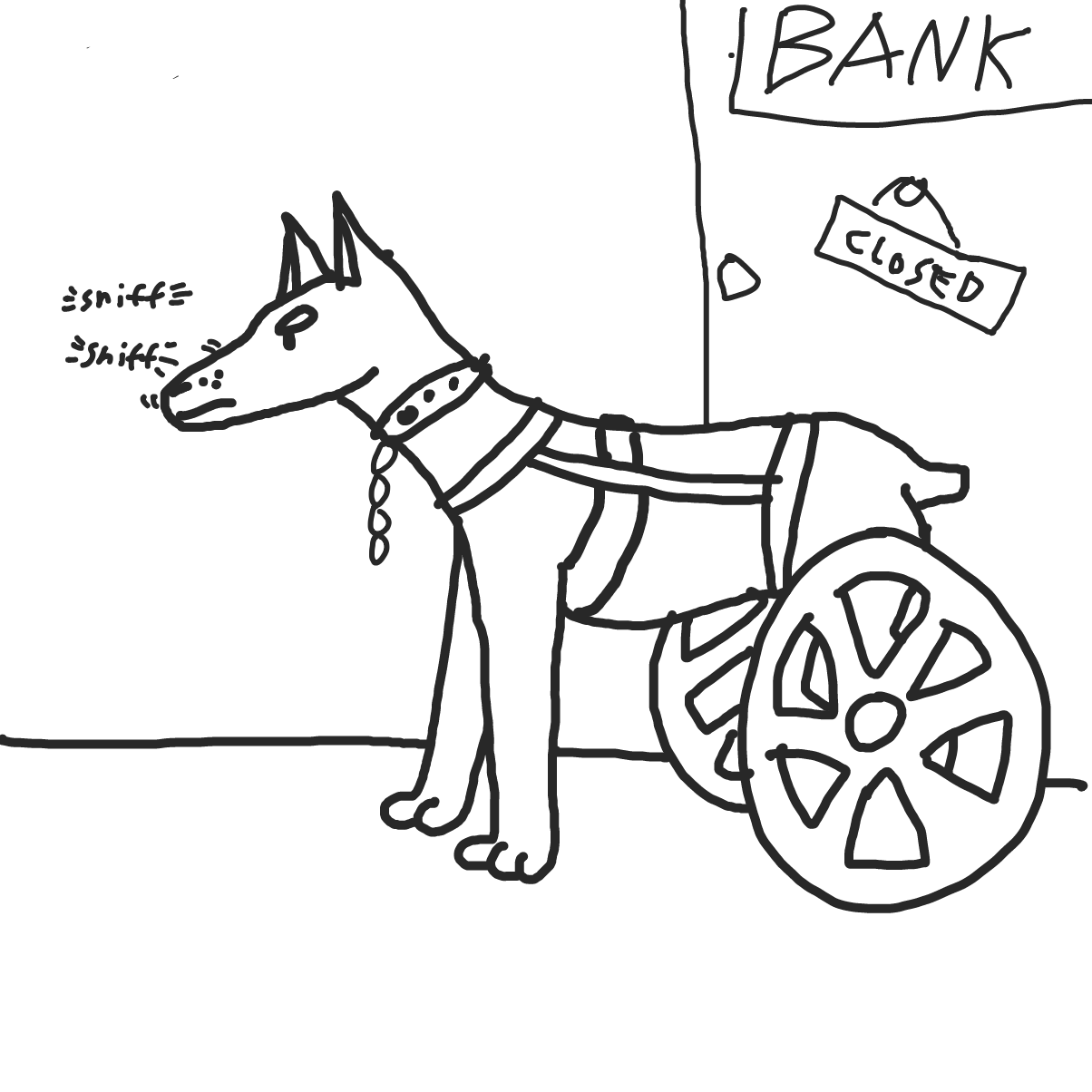 Drawing in Paraplegic guard dog by bajira