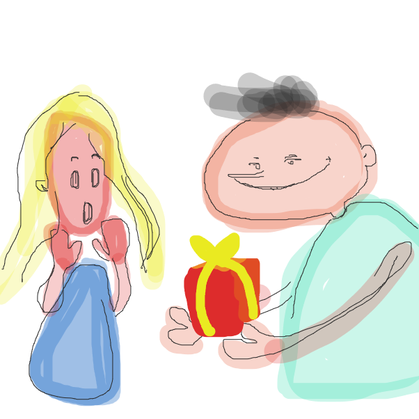 First panel in Happy birthday!! drawn in our free online drawing game