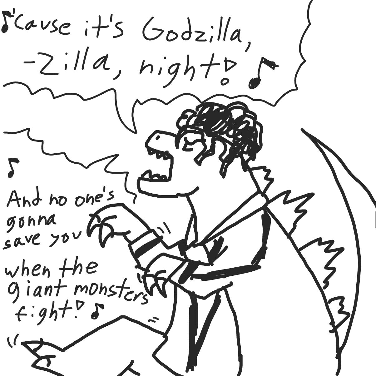 Drawing in Zilla Night by bajira