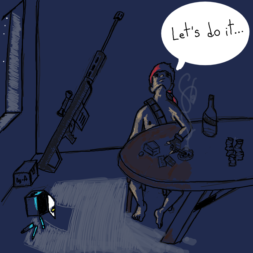 Our red-haired vampire hunter is ready. He has silver bullets amd is done gambling in Las Vegas so... Let´s do it... - Online Drawing Game Comic Strip Panel by ArelaEstudio