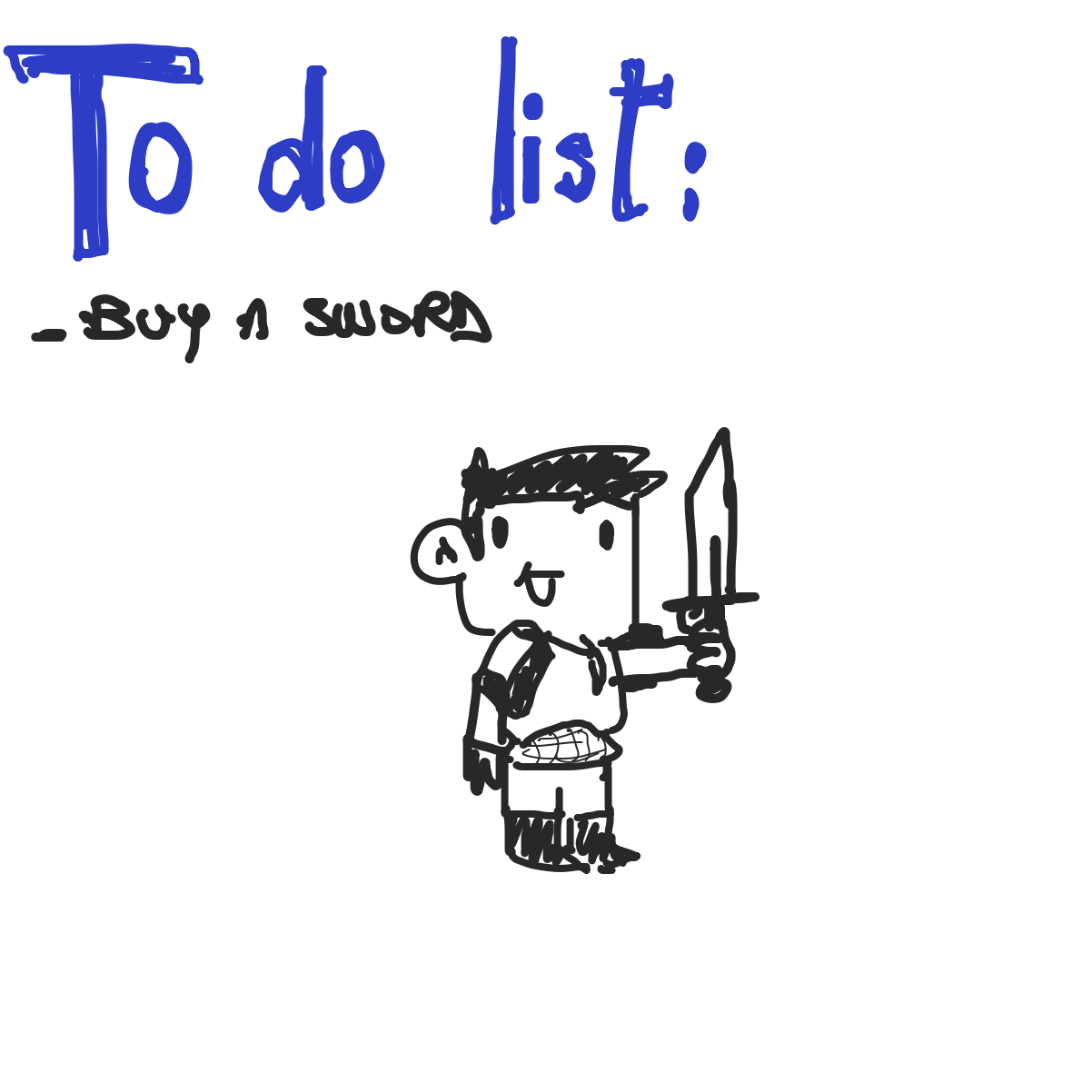 First panel in To do list drawn in our free online drawing game
