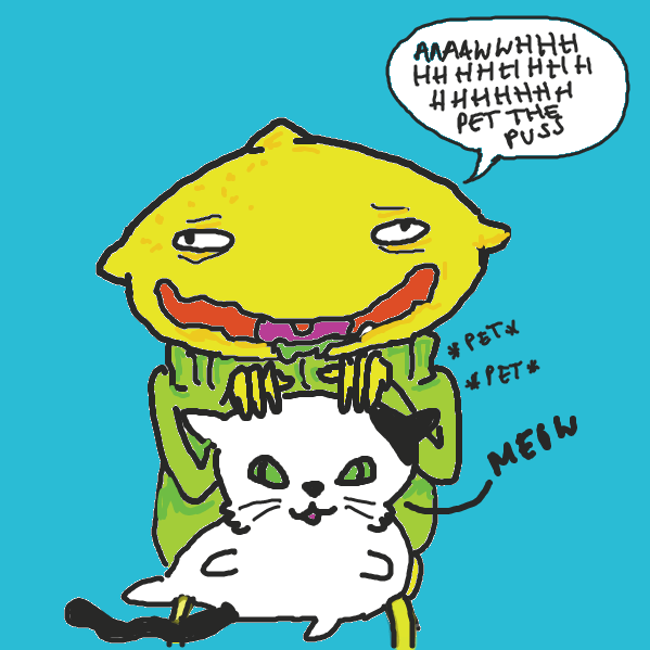 sour boi found a cat, now all the ladies will come to the yard, no woman can resist a fuzzy pussy. - Online Drawing Game Comic Strip Panel by Helen