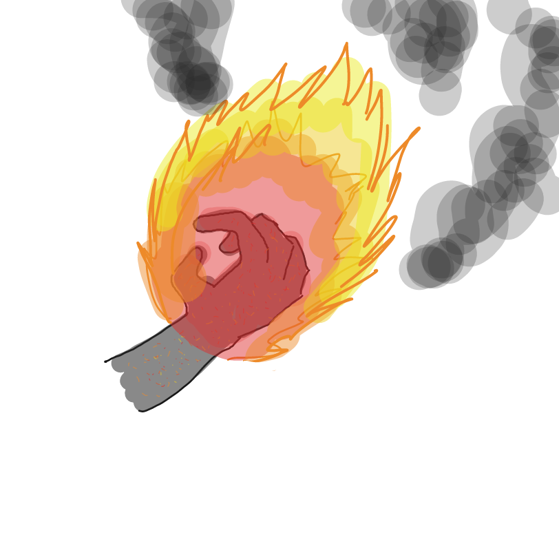 Fire hand is burning!!! - Online Drawing Game Comic Strip Panel by ArelaEstudio