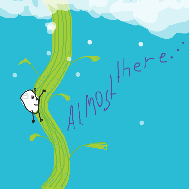 The bald white bean man climbs and climbs...he's almost at the top...is he? - Online Drawing Game Comic Strip Panel by bill