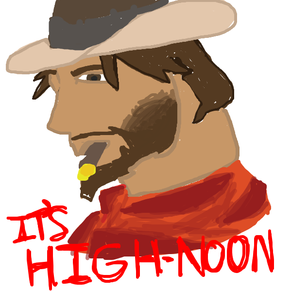 McCree ults, and locks on to spaghetti - Online Drawing Game Comic Strip Panel by SAMiAm