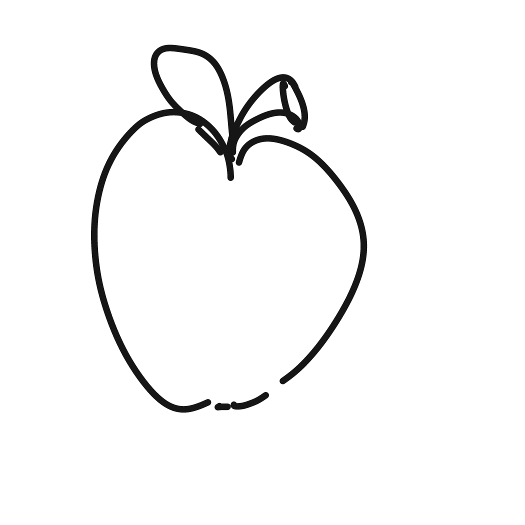 First panel in Apple drawn in our free online drawing game