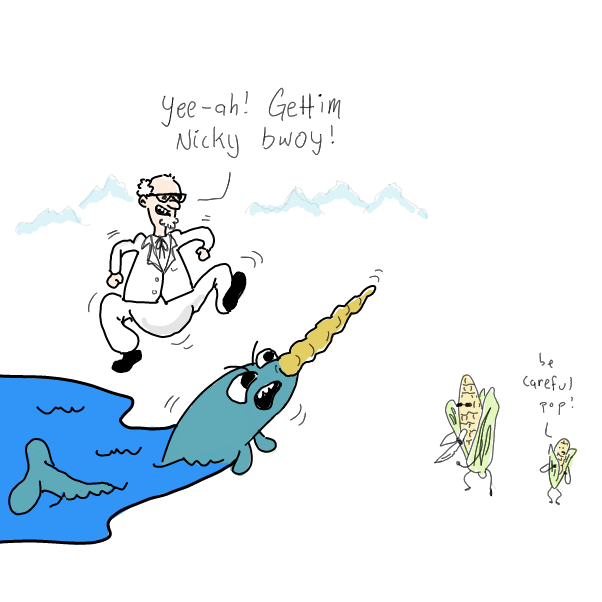 Drawing in Nick Narwhal by WizardCroissant