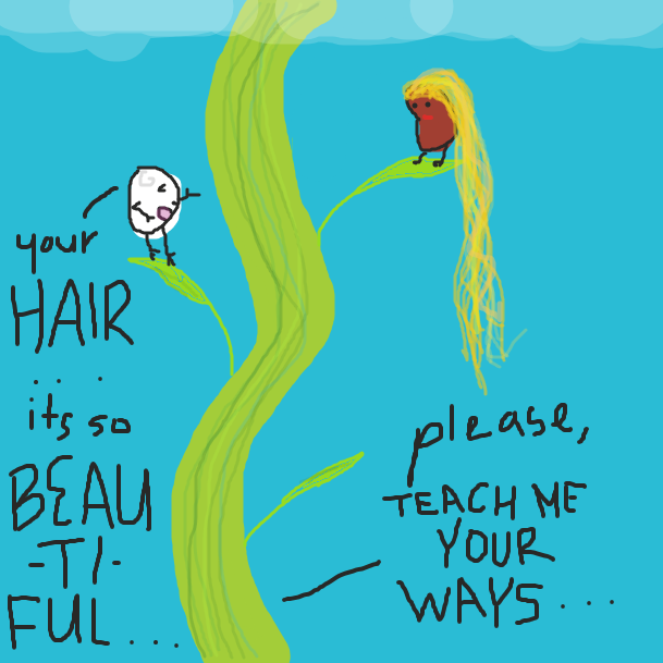 then, the bald white bean man comes across a gorgeous kidney bean woman on the bean stalk journey.  she has the most beautiful long blonde hair he has ever seen.  he asks her for hair advice. - Online Drawing Game Comic Strip Panel by cheeseplatter