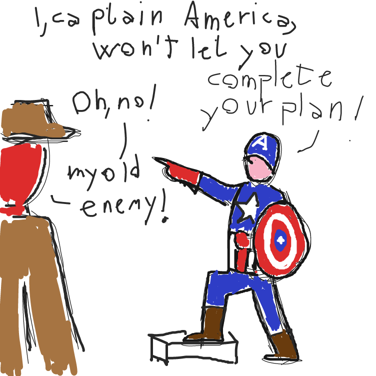 Plot twist: no-face man is the Red Skull - Online Drawing Game Comic Strip Panel by facelessdrawings