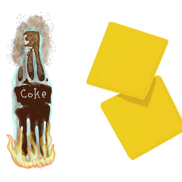 Warm Coca Cola and two slices of processed cheese food. - Online Drawing Game Comic Strip Panel by WizardCroissant