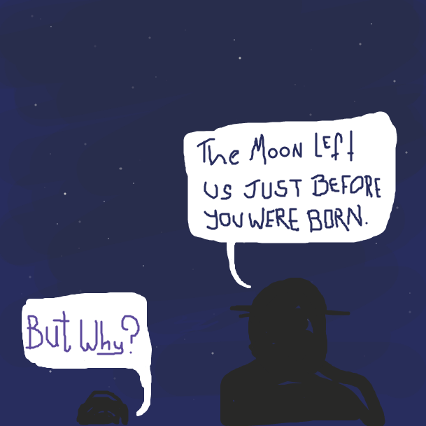 A father and son look up at the night sky. It has been a generation since the moon left earth behind, and the son asks why. - Online Drawing Game Comic Strip Panel by jamdaddy