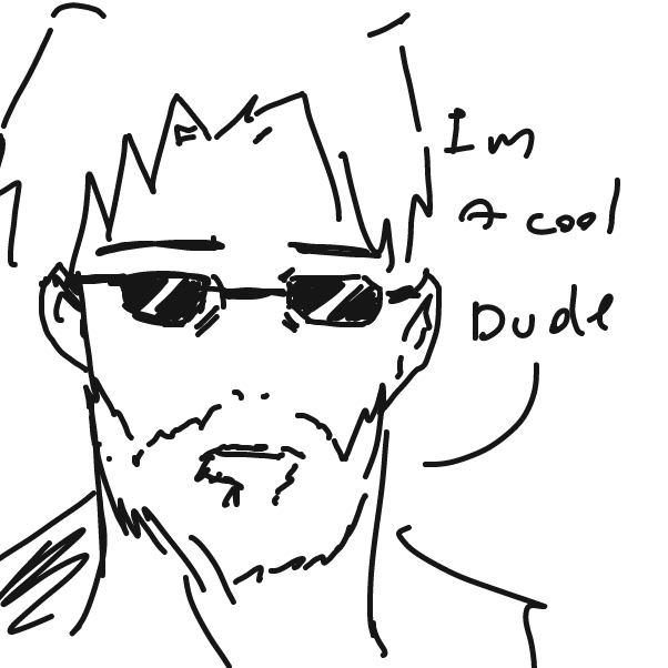 First panel in cool dude drawn in our free online drawing game