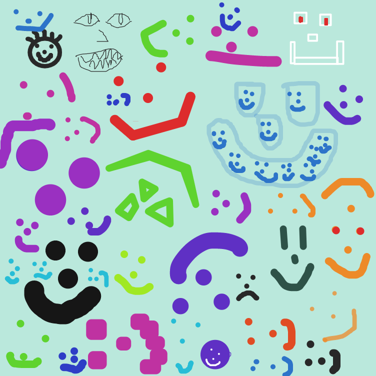 First panel in Fill the panel with smiley faces drawn in our free online drawing game