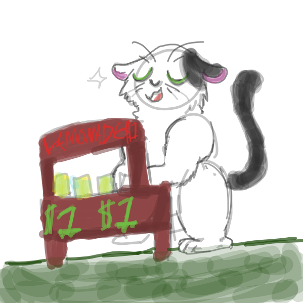And the puss attracted all the ladies to his stand - Online Drawing Game Comic Strip Panel by SOMBRA.dy