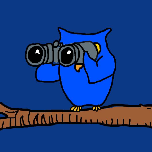 Drawing in Owl with binoculars by SteliosPapas