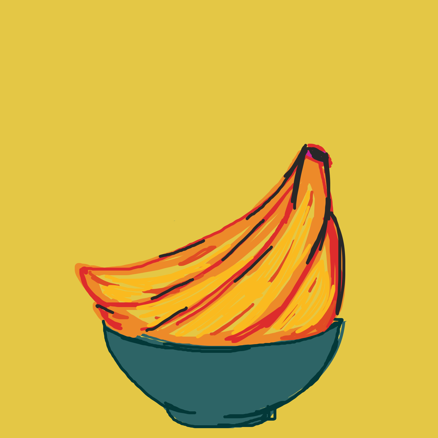 Drawing in Banana bowl  by Juleefish