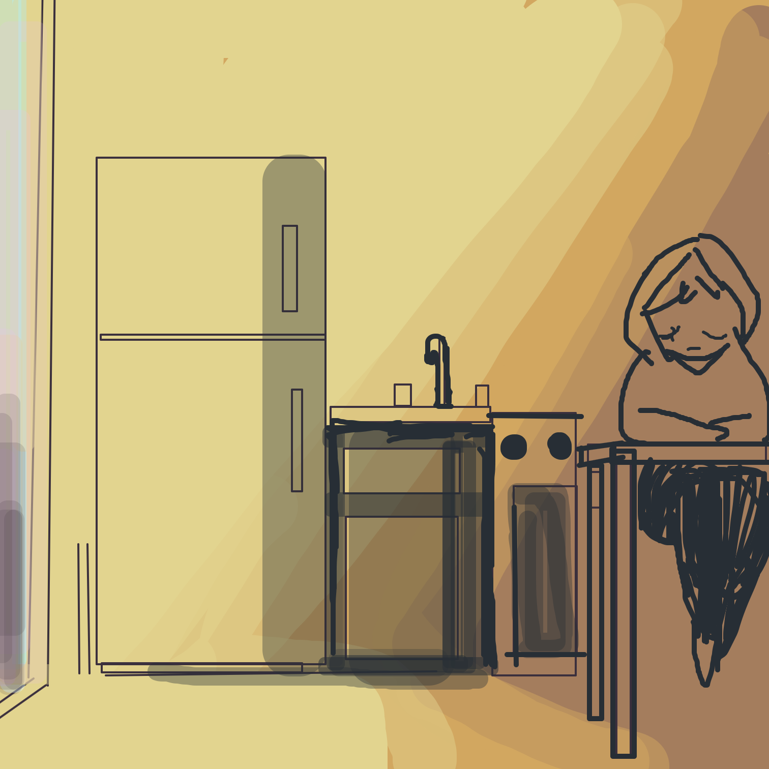 Drawing in Lonely apartment  by Juleefish