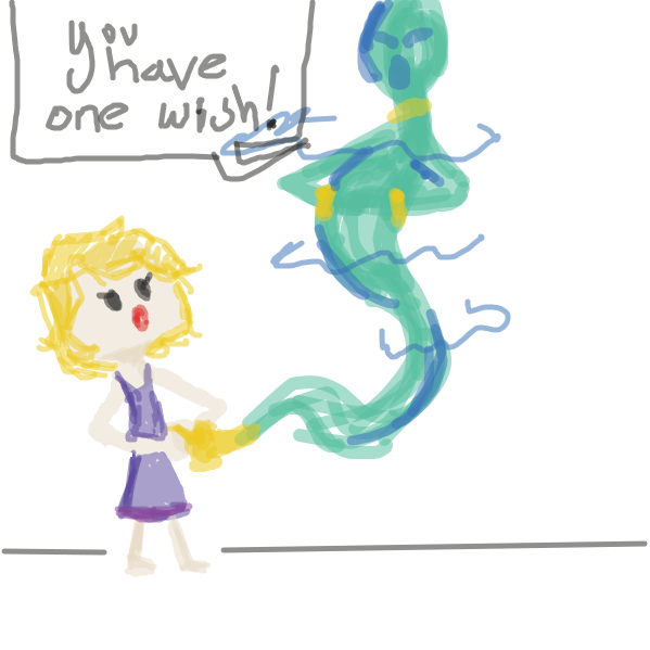 First panel in one wish drawn in our free online drawing game
