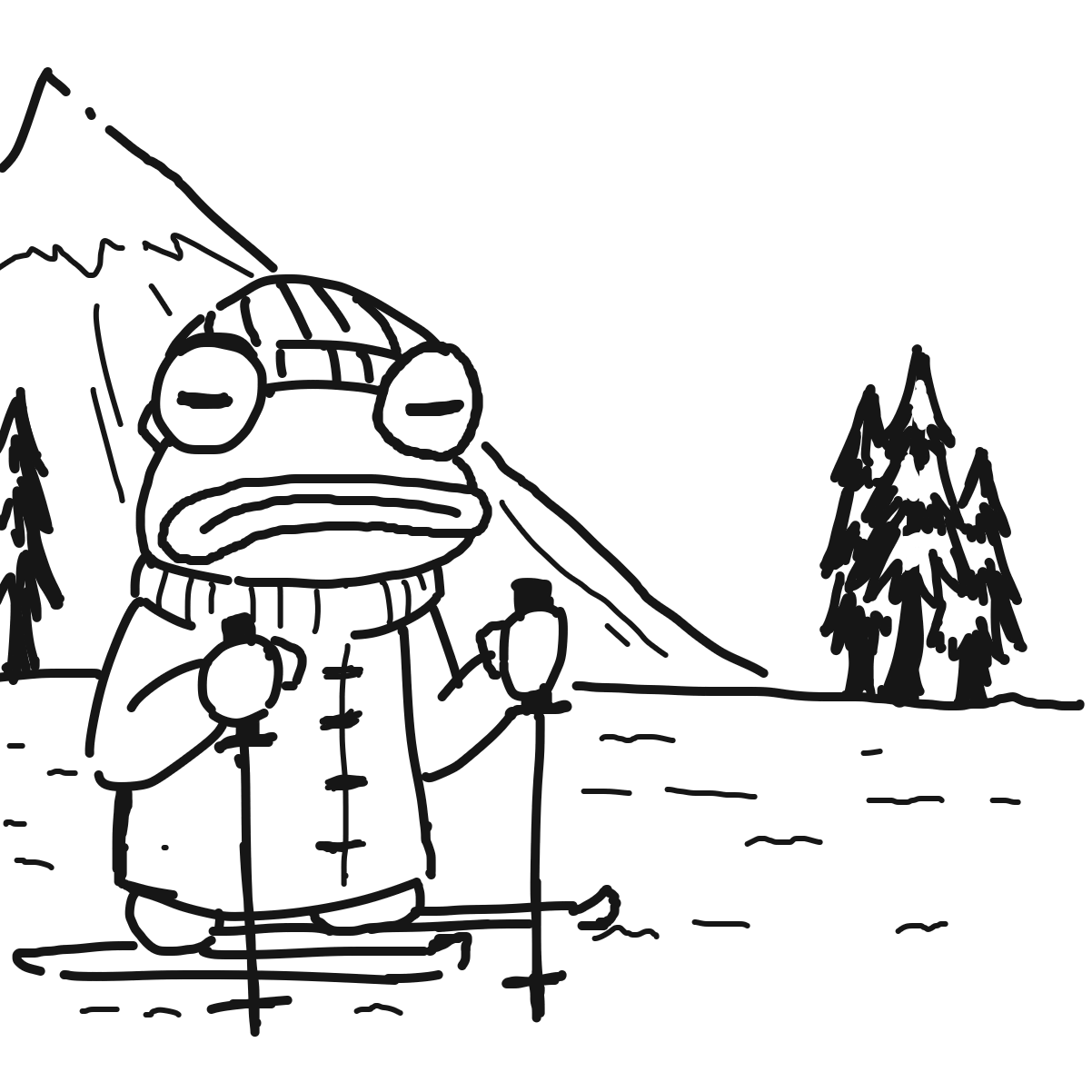 Drawing in Skiing Frog by superstar_pixie
