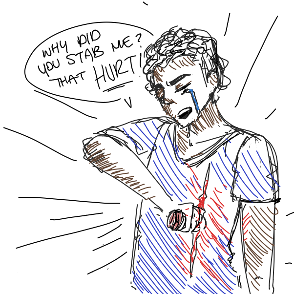 Drawing in That relatable moment when you get stabbed by ortani