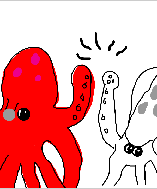 Drawing in Owen Octopus and Sid Squid by SteliosPapas