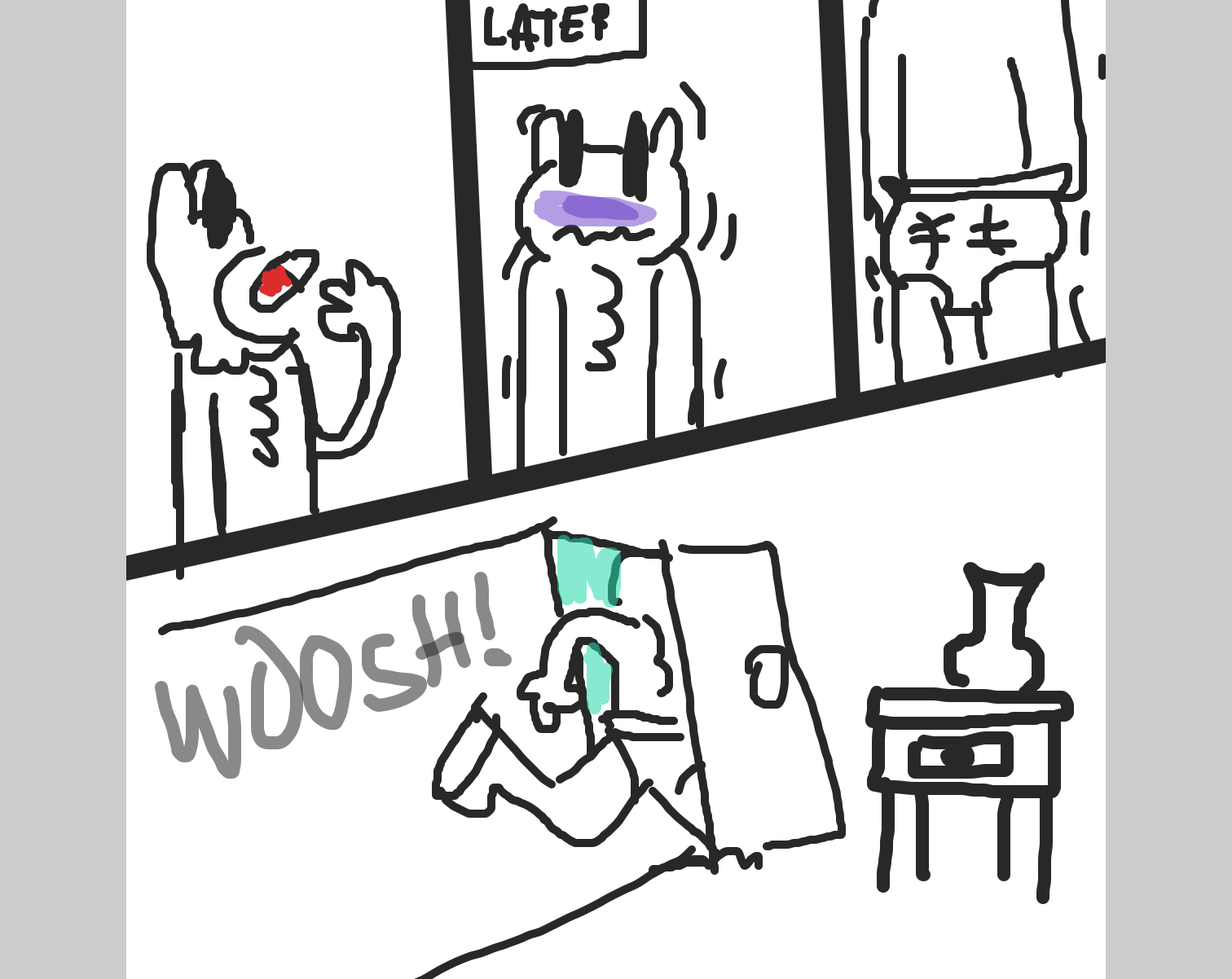 I G-Gotta get to t-the park! QUICK?! - Online Drawing Game Comic Strip Panel by LizardPie34