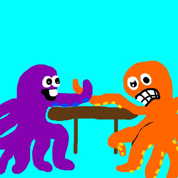 Drawing in Arm Wrestling Octopuses by SteliosPapas