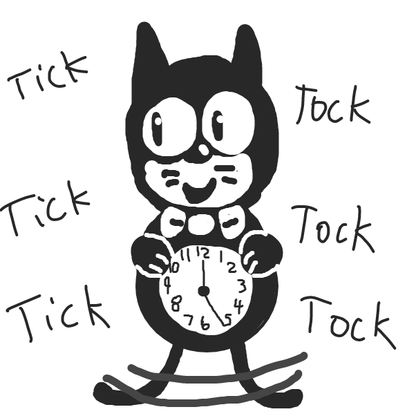 Drawing in Cat Clock by Yangstablook