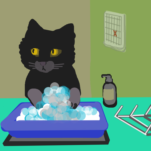 "Kitty is washing something in soapy water. Kitty looks a bit concerned. ""Did I forget something?"" - Online Drawing Game Comic Strip Panel by Applelsauce"