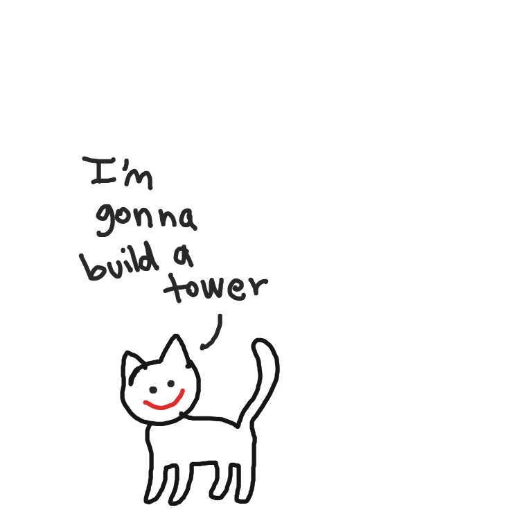 cat builds a tower - Online Drawing Game Comic Strip Panel by niania