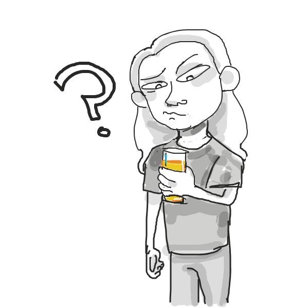 Drawing in orange juice by Mojomos