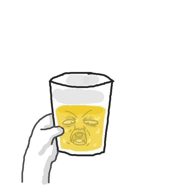 Drawing in orange juice by Captain Fetus