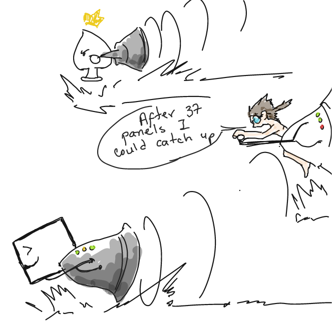 I... couldn't help to turn help megaphones into speed-racers. ^_^ - Online Drawing Game Comic Strip Panel by ArelaEstudio