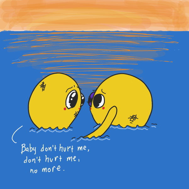 Drawing in Yellow Octopus Fight by WizardCroissant