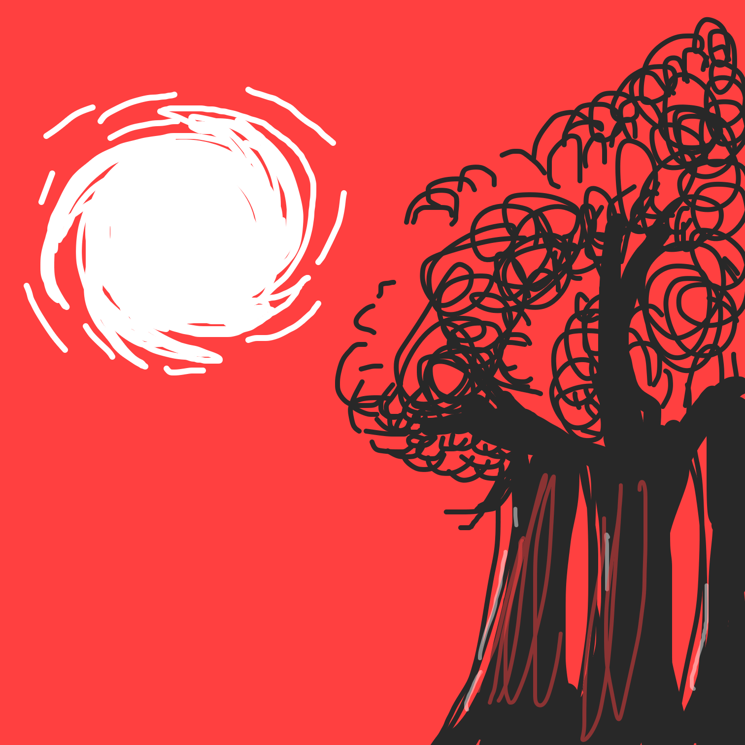 First panel in Blood red forest  drawn in our free online drawing game