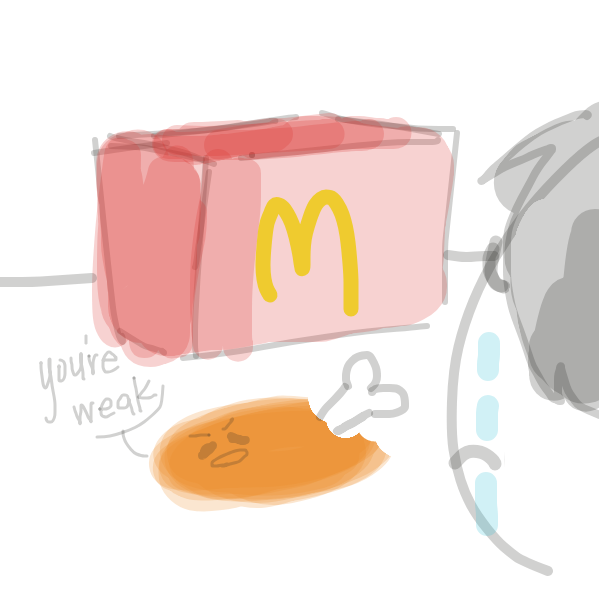 Drawing in The chicken nugget struggle by rockinashy