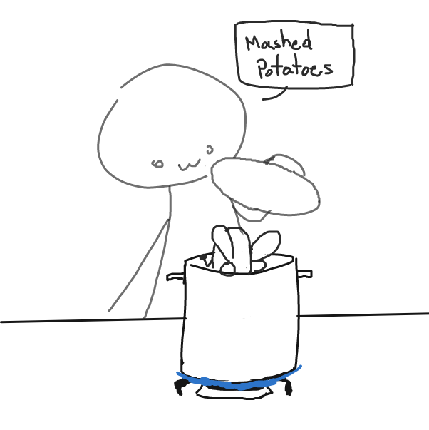 """You first boil the potato"" - Online Drawing Game Comic Strip Panel by SluggishFella"