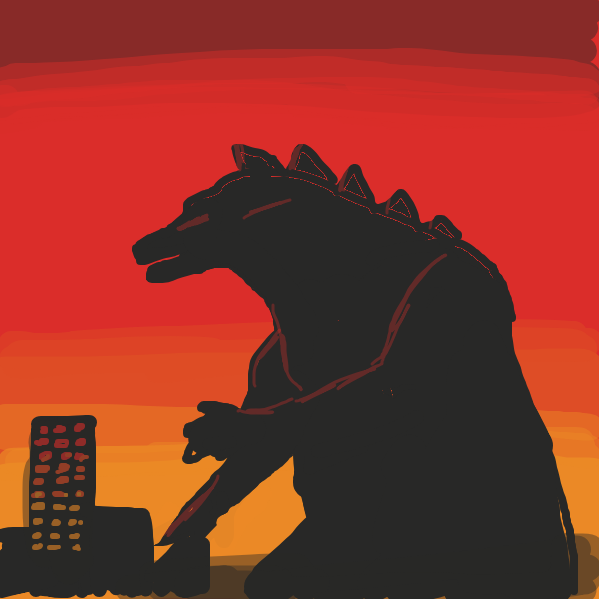 First panel in GOdzilla drawn in our free online drawing game