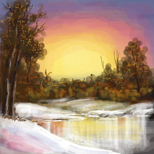 Drawing in Follow along with a Bob Ross video on Youtube. by Dogg