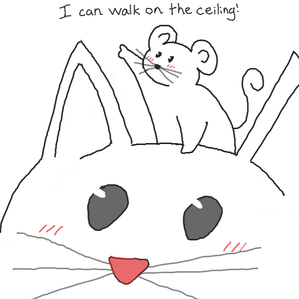what will cat do, knowing that mouse can walk on the ceiling? - Online Drawing Game Comic Strip Panel by Chepley