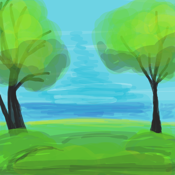 Drawing in Follow along with a Bob Ross video on Youtube. by Izzaro21