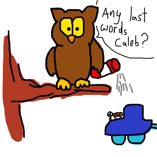 Drawing in Owen Owl vs Caleb Cockroach by SteliosPapas
