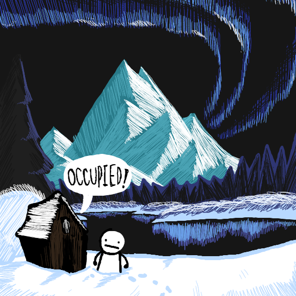 local man tries using the bathroom in a Bob Ross painting - Online Drawing Game Comic Strip Panel by CheddarTeeth